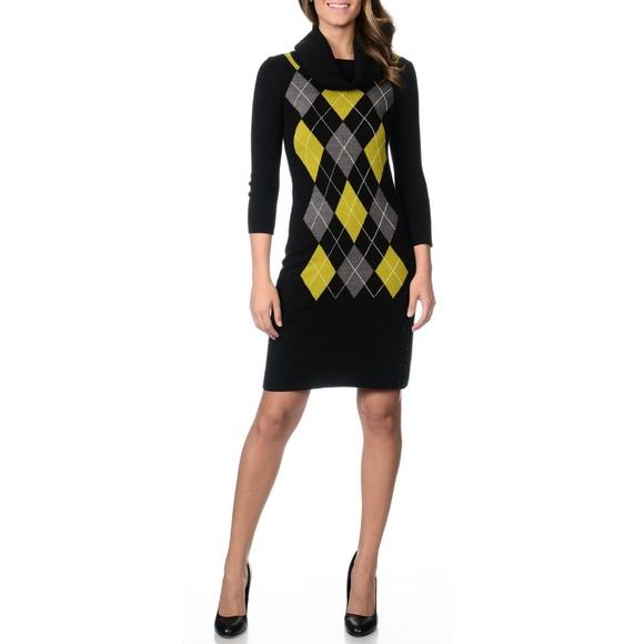Studio One Argyle Cowlneck Sweater Dress Size XL. M 5be01e95035cf1bfc0c0aeba d3dc4c074